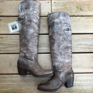 FRYE Jane Tall Cuff Brown Knee High Leather Boots
